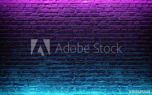 Modern Futuristic Neon Lights On Old Grunge Brick Wall Room Background 3d Rendering Spon Lights Grunge Neon Mod In 2020 Walls Room Neon Lighting Futuristic