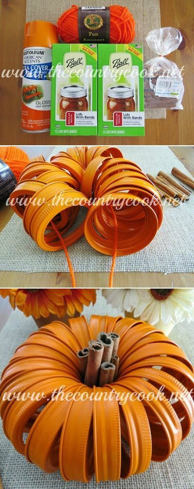Mason Jar Lid Pumpkins. You can paint them or leave them unpainted Such an easy but sweet craft for fall!   www.thecountrycook.net