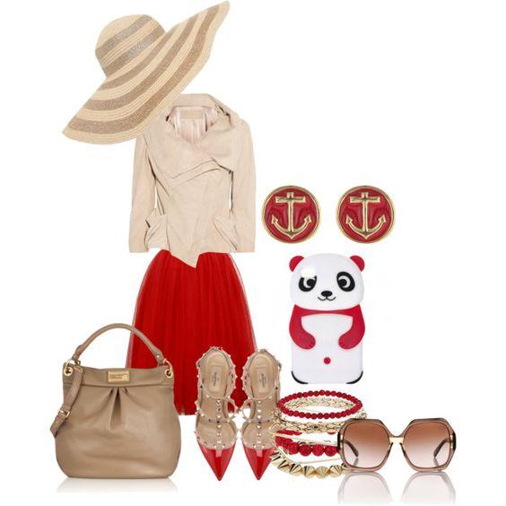 red & camel - Polyvore
