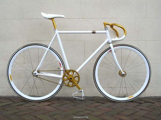 I'm a sucker for white fixed gear bikes.  Not sure about the gold, but this seems to work.