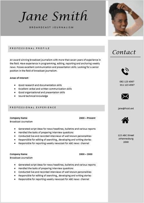 Broadcast Journalist Curriculum Vitae Cv Template Cv Design Template Job Resume Examples
