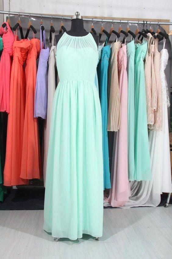 Wholesale Bridesmaid Dresses - Buy Mint A-line Scoop Vestido De Fiesta Custom Ruffle Pleated Chiffon Floor-Length Bridesmaid Dress Cheap Real-image 2015 Formal Dresses L1016, $78.33 | DHgate