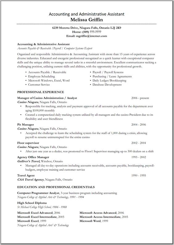 Great Administrative Assistant Resumes | Accounting and Administration Assistant Resume