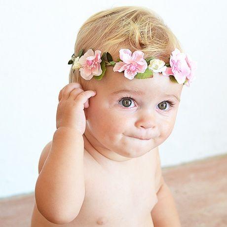 Corona flores con cinta el stica para beb s preciosas - Diademas de flores para nina ...