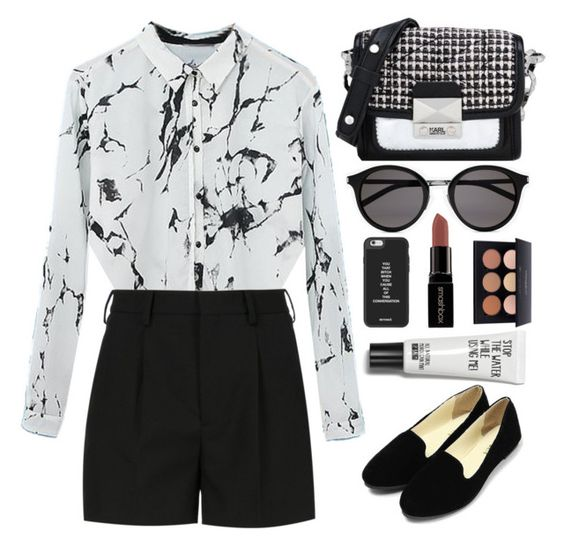 """""""SMARTY"""" by vlleander ❤ liked on Polyvore featuring Yves Saint Laurent, Karl Lagerfeld, Smashbox, women's clothing, women, female, woman, misses and juniors"""