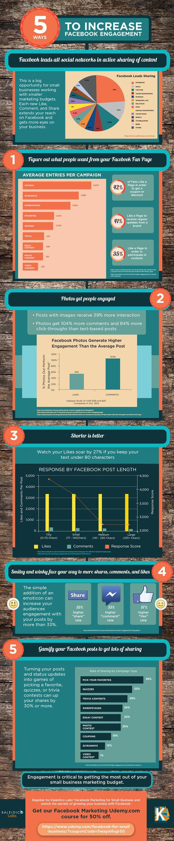 5 Tips to increase Facebook Engagement #infografia #infographic #socialmedia