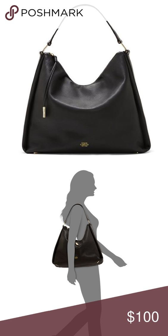 NWOT Vince Camuto Black Josie Hobo This gorgeous brand new Vince Camuto hobo with soft supple leather is sure to get you compliments! This purse features gold hardware and a super cute tassel zipper! There is a very small white dot on the back of the purse. I bought this in as in condition. That is the only defect. The price is firm, this retails for $278. I do not trade or put items on hold for anyone. All of my items are authentic. I am selling this on my eB🅰y, username tmg2094, and…