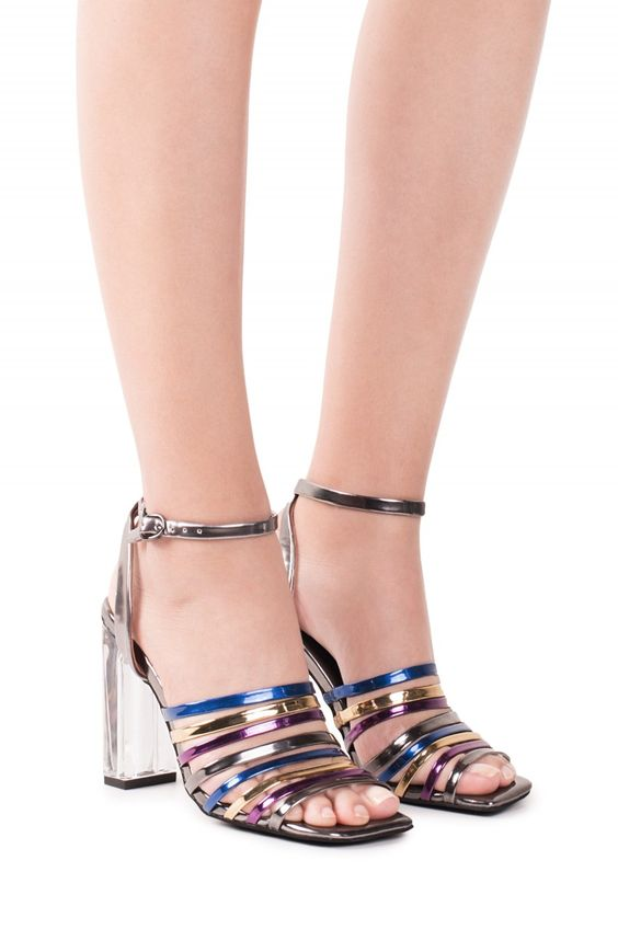 Jeffrey Campbell Shoes AINARA New Arrivals in Pewter Mirror Multi Clear