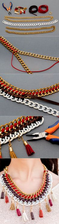 DIY Crimenes de la Moda - Collar con cadenas y borlas - Chain necklace: