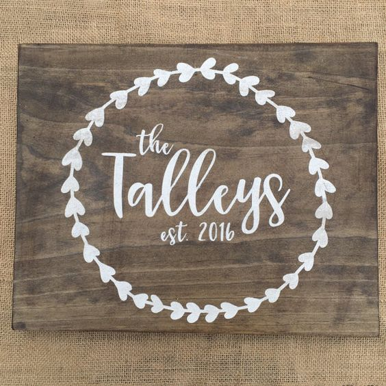 Wedding Gift  Custom Wooden Sign with Last by BirdOnALineDesigns