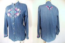 VINTAGE 80s Jean Blouse Sz M Aztec Denim Embroidered South Grunge Blue Top Indie