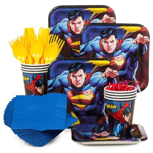 Superman-Birthday-Party-Standard-Tableware-Kit-Serves-8-Party-Supplies