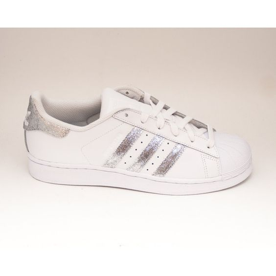 Glitter Limited Edition Silver Adidas Superstars Ii Fashion Sneakers... (€175) ❤ liked on Polyvore featuring shoes, silver, sneakers & athletic shoes, tie sneakers, women's shoes, glitter shoes, silver sparkle shoes, silver glitter shoes, silver shoes and bright shoes
