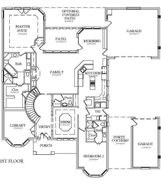 House plan with porte cochere good starting point no for Porte cochere house plans