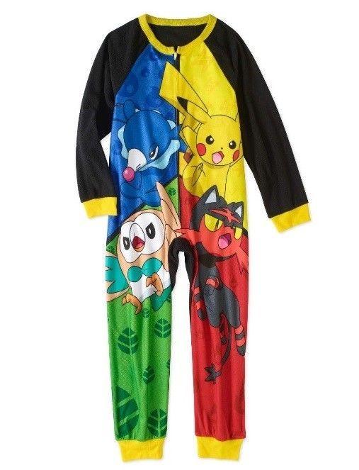 AME Pokemon Pikachu Boys Hooded Union Suit Pajamas Medium