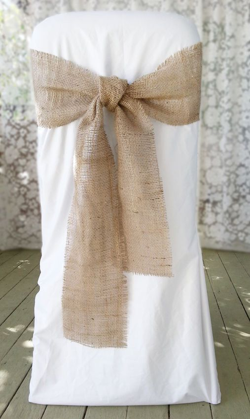 New 2ea Rustic Burlap Hessian Chair Sash Bow Rustic