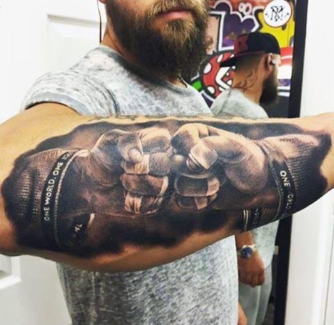 Realistic Two Hands Fist Bump Badass Mens Forearm Tattoo Design
