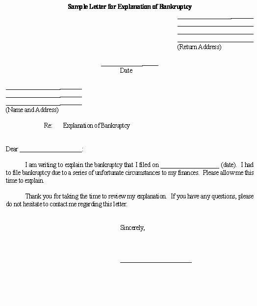 Sample Letter For Explanation Of Bankruptcy Template Lettering Letter Example Bankruptcy