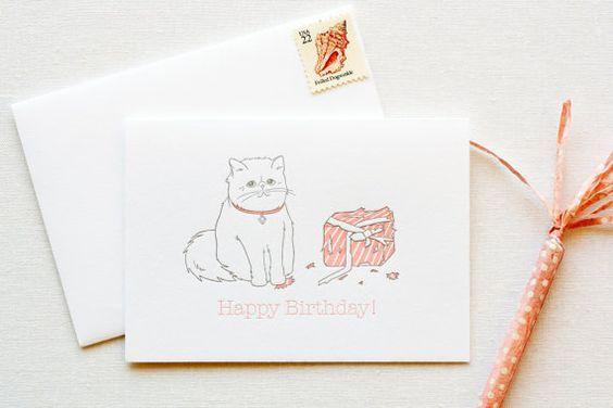Persian Kitty Birthday Letterpress Card by FatBunnyPress on Etsy, $5.00