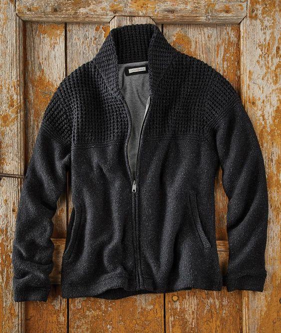 Men's Zip Front Double Feature Sweater Cotton Jacket