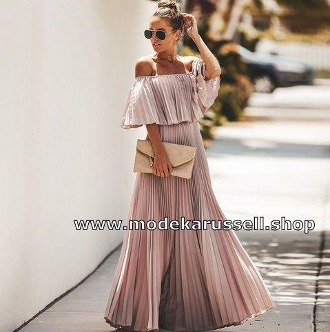 Schulterfreies Chiffon Maxi Sommerkleid Elegant Und Festlich In Altrosa In 2020 Sommerkleid Chiffon Maxi Maxi Sommerkleider
