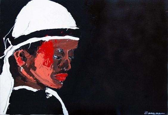 © Laura Zimmermann, Garde la pêche, 800 x 600 mm, acrylique sur toile, 2007, Cernay la Ville