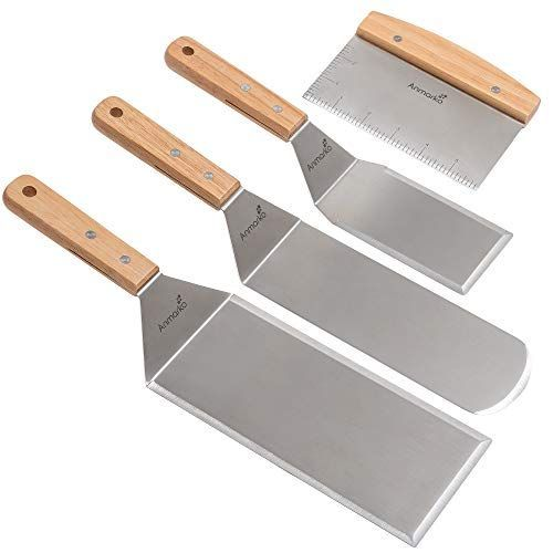 I Like These Teppanyaki Tools For Turning Over Meat Fish And Vegetables On The Flat Grill Surface Turners Teppanyaki Stainless Steel Bbq Grill Spatula Set