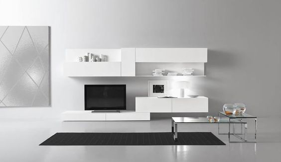 cool black and white tv wall units modular furniture small living room | Contemporary Modular Wall Unit Design for Living Room ...