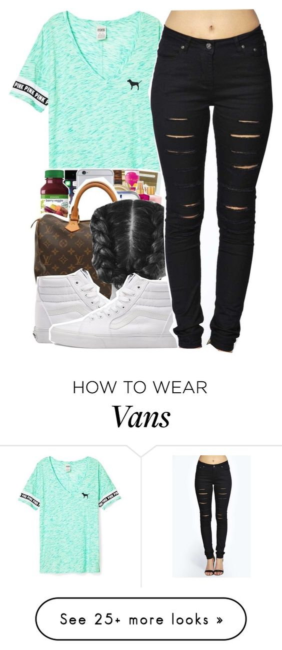 """I'm in love with the shirt "" by jordanlife24 on Polyvore featuring Victoria's Secret, Vans and Boohoo"
