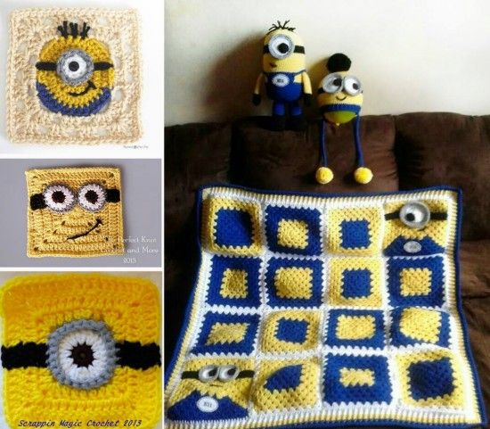 Minion Granny Squares Free Crochet Patterns: