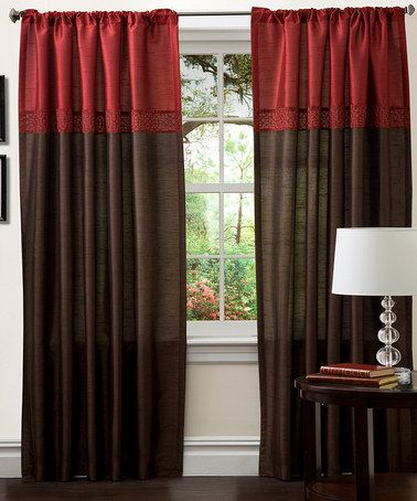 Curtains Ideas cheap brown curtains : Take a look at this Red & Brown Geometrica Curtain Panel - Set of ...