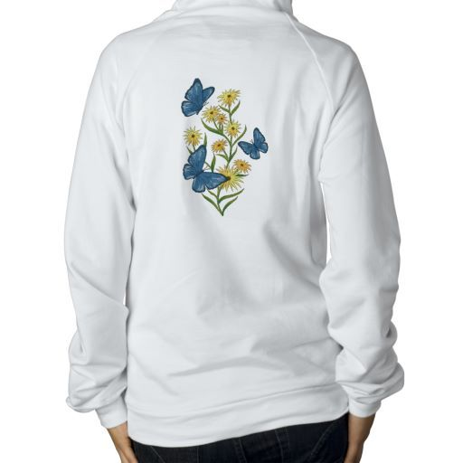 Embroidered Butterfly and  Daisies Hoody, with matching butterfly on pocket area.