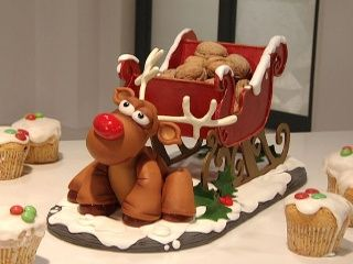 Reno con trineo sandra g mez navidad pasta fria for Trineo madera decoracion