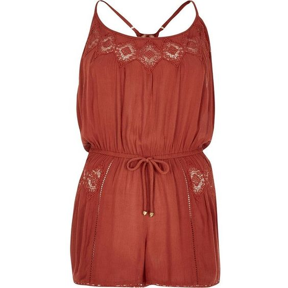 River Island Brown lace trim romper (€36) ❤ liked on Polyvore featuring jumpsuits, rompers, brown, rompers/ jumpsuits, women, brown camisole, red rompers, red jump suit, playsuit jumpsuit and strappy cami