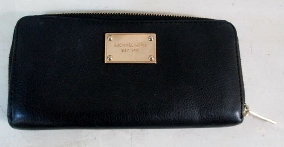MICHAEL KORS I-1210 change purse Wallet Organizer Leather Signature Zip BLACK
