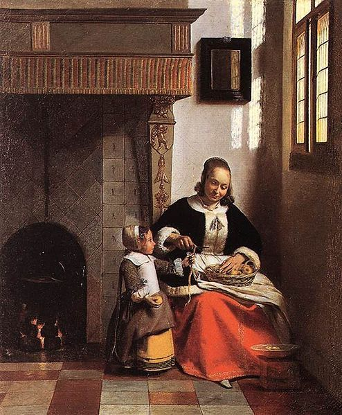 """Pieter de Hooch, A Woman Peeling Apples.  Oil on canvas, c. 1663.  Approximately 28"""" x 21"""", The Wallace Collection, London."""