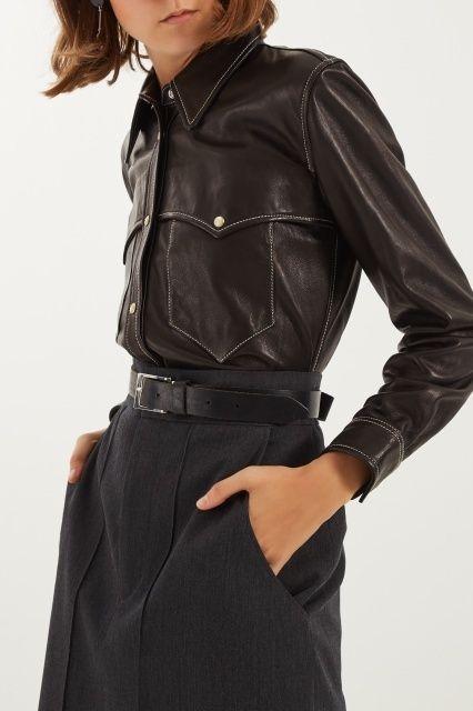 Черная рубашка из кожи Isabel Marant - Рубашка свободной посадки из коллекции французского бренда Isabel Marant в интернет-магазине модной дизайнерской и брендовой одежды