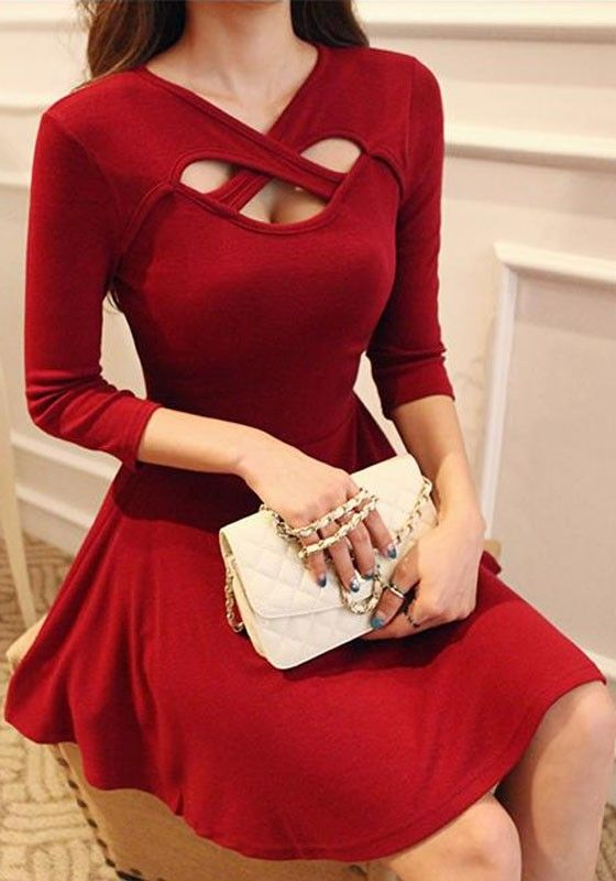 cross hollow-out red dress (cross hollow-out in back with deep v-line in front, red leather pumps)