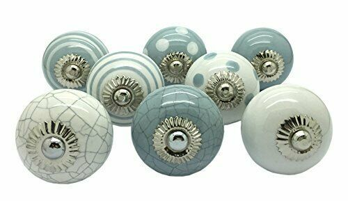 Decorative Ceramic Knobs Metal Kitchen Cupboard Drawer Door Pull Knobs