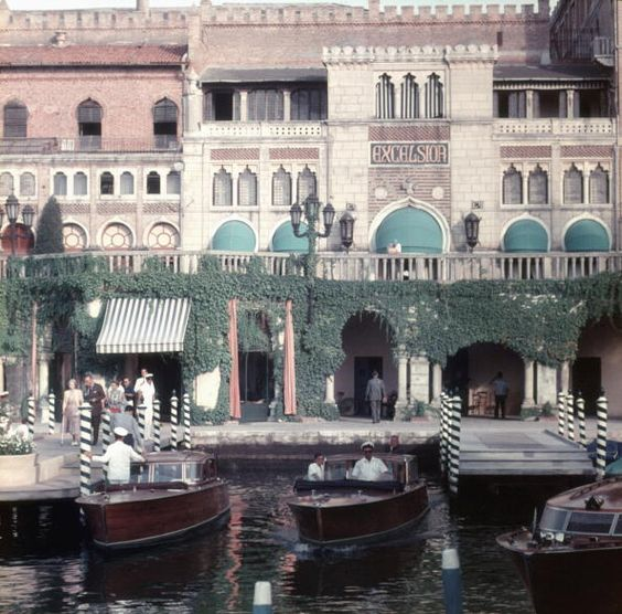The Westin Excelsior Hotel on the Lido in Venice (1957) by Slim Aarons. The first Venice Film Festival was held on it's terrace in 1932.: