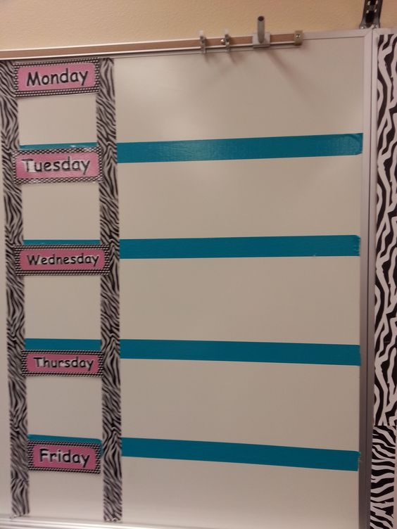 Homework board - could use as my daily objectives board