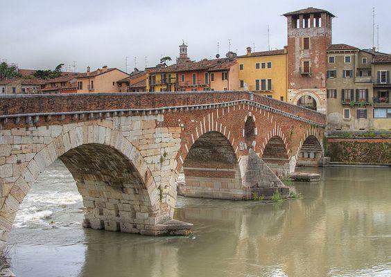 """""""HDR - Ponte di Pietra, Verona, Italy by Tiddler, via Flickr"""""""