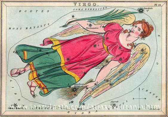 """Virgo. Shown with wheat sheaf in left hand (Spica) and palm frond in right hand. (From 19th century Urania's Mirror.) """"Virgo the Maiden"""" http://www.bellaonline.com/articles/art183332.asp: Bright Stars, Constellation Cards, Constellation Earthsky, Constellations Google, Constellation Virgo, Chart Virgo, Constellations Earthsky, Virgo Urania"""