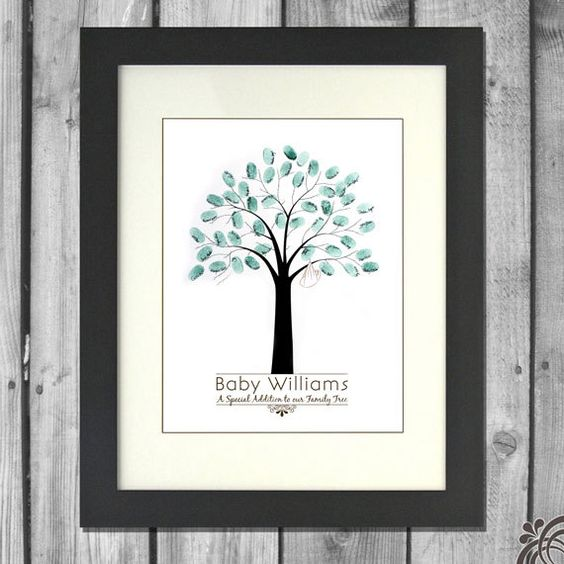 Fingerprint Guest Tree Book...This probably wouldn't kill much time, but it would be a nice activity for guests to do as they arrived at the party. Leaving their thumb print on a tree is a way to incorporate a little piece of your friends and family into your nursery art.