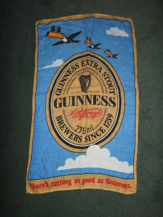 """Blue GUINNESS BEER Logo Collectible Bar Pub Cotton Towel, 28"""" H X 17"""" W, GUC!"""