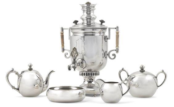 A silver tea service, Moscow, 1908-1917
