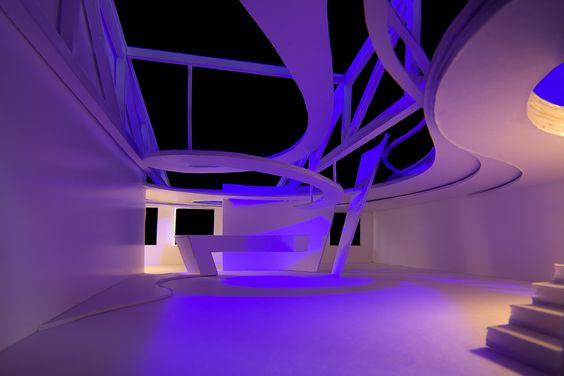 Light Center Speyer - architectural model in purple by Peter Stasek Architect
