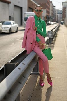 vintage inspired kelly green and pink pantsuit | COLORFUL PANTSUITS: 25 WAYS TO POWER SUIT UP THIS SEASON | Pretty perfect fashion