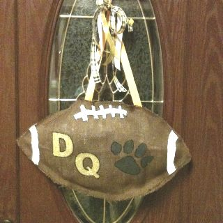 De Queen leopards burlap football I made for my mother-in-law.