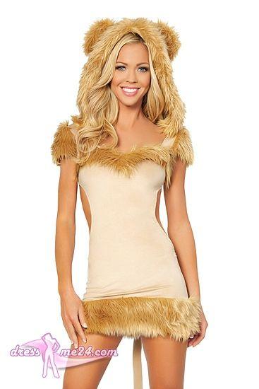 Besuche uns gern auch auf dressme24.com ;-) Minikleid - Löwen Kostüm - Stolze Löwin - Löwen Kostüm - Stolze Löwin. Superkurzes Löwen Minikleid aus angenehm weichem Stretch Microfaser mit wuschliger Kunstpelzverzierung. Die Kapuze mit Ohren und der Schwanz sind angenäht. #Kostueme, #Sexykostueme, #Loewenkostuem